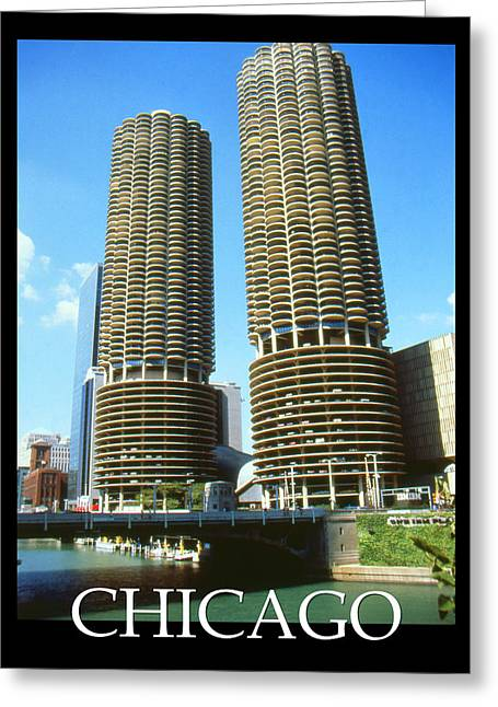 Seller Mixed Media Greeting Cards - Chicago Poster - Marina City Greeting Card by Peter Fine Art Gallery  - Paintings Photos Digital Art
