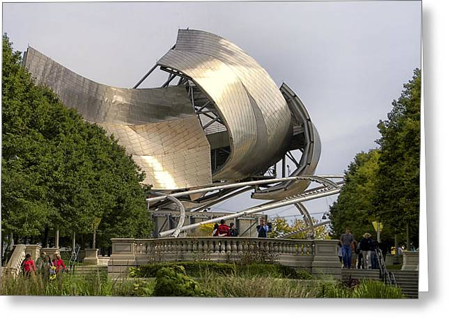 Stainless Steel Greeting Cards - Chicago Pritzker Music Pavilion West Side Greeting Card by Thomas Woolworth
