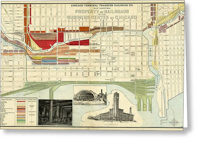 Railyard Greeting Cards - Chicago Railroad Map 1898 Greeting Card by Andrew Fare