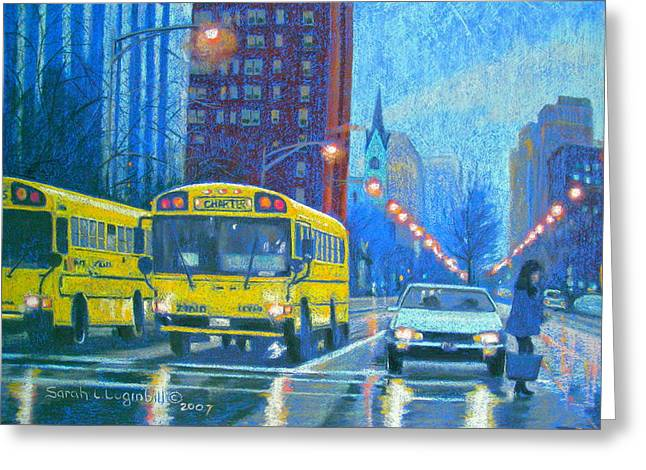 Seen Pastels Greeting Cards - Chicago Rain Greeting Card by Sarah Luginbill