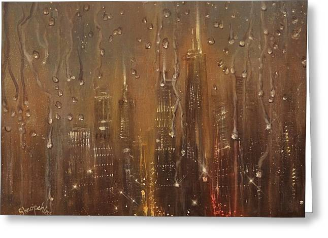 Thunderstorm Greeting Cards - Chicago Raindrops on Glass Greeting Card by Tom Shropshire