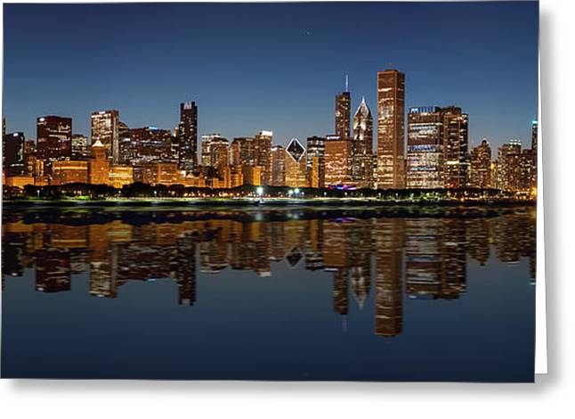Chicago Reflections Greeting Cards - Chicago Reflected Greeting Card by Semmick Photo