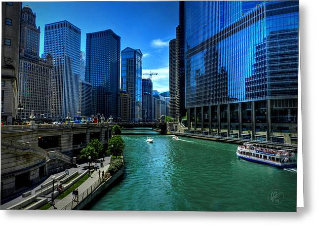 Trump Hotel Greeting Cards - Chicago River 003 Greeting Card by Lance Vaughn
