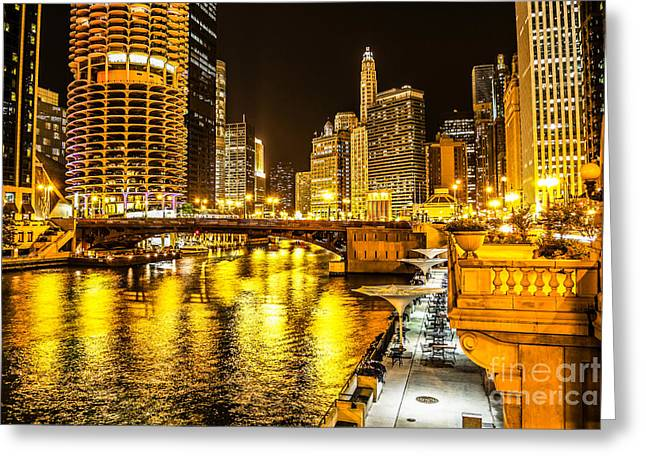 Marina Night Greeting Cards - Chicago River Architecture at Night Picture Greeting Card by Paul Velgos