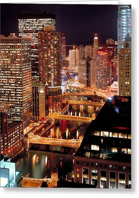 Chicago River At Night Greeting Card by Thomas Firak