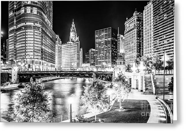 Riverfront Greeting Cards - Chicago River Buildings at Night in Black and White Greeting Card by Paul Velgos