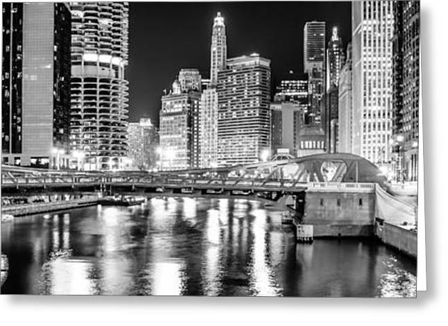 Marina Night Greeting Cards - Chicago River Clark Street Bridge at Night Panorama Photo Greeting Card by Paul Velgos