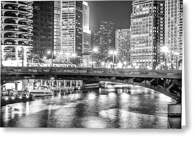 Marina Night Greeting Cards - Chicago River Dearborn Street Bridge Panorama Photo Greeting Card by Paul Velgos