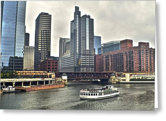 Boat Cruise Greeting Cards - Chicago River Greeting Card by Frozen in Time Fine Art Photography