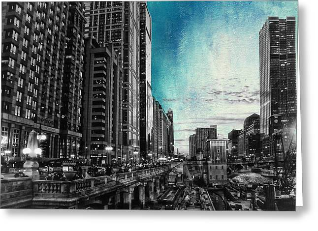 Facades Mixed Media Greeting Cards - Chicago River HDR SC Textured Greeting Card by Thomas Woolworth