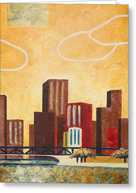 Chicago Skyline Mixed Media Greeting Cards - Chicago River II Greeting Card by Sandra Neumann Wilderman