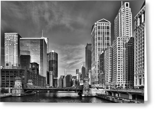 Iconic Photographs Greeting Cards - Chicago River in Black and White Greeting Card by Sebastian Musial