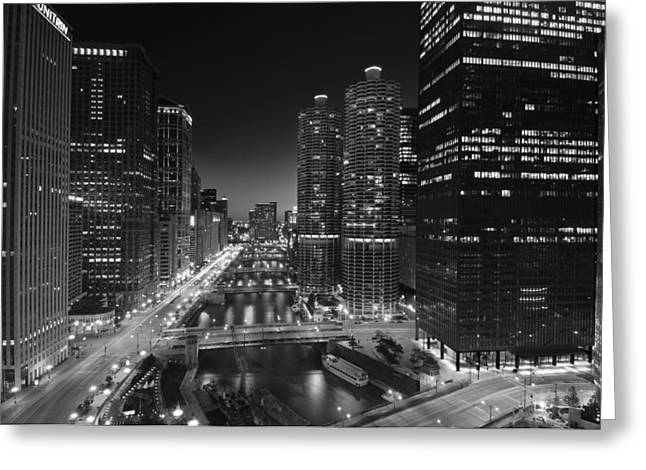 Michigan Ave Greeting Cards - Chicago River Lights B W Greeting Card by Steve Gadomski