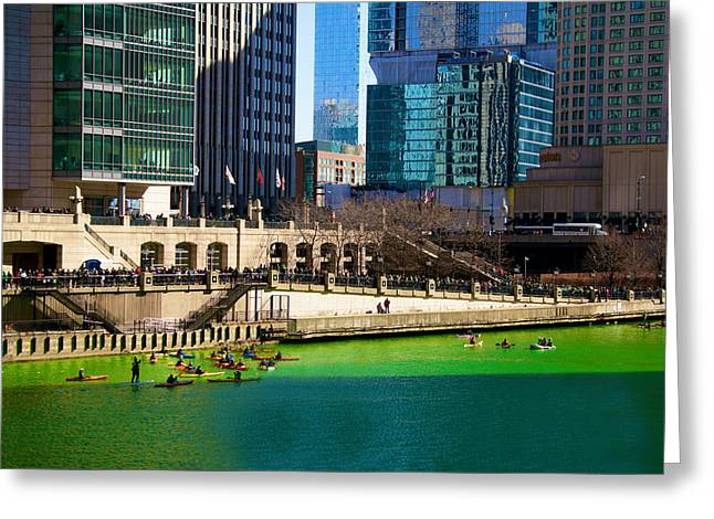 The Chicago River On St. Patrick's Day Greeting Card by Art Spectrum