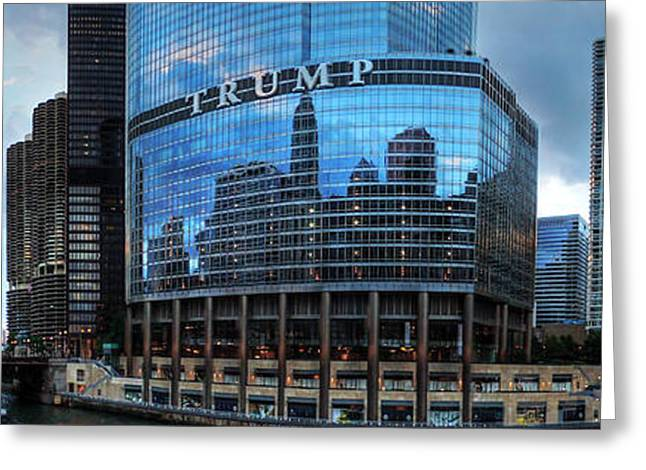 Magnificent Mile Greeting Cards - Chicago River Pano 001 Greeting Card by Lance Vaughn
