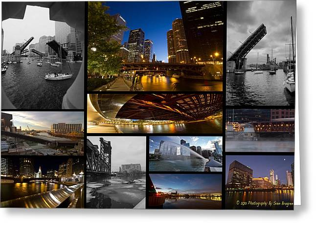 Riverwalk Greeting Cards - Chicago RIver Photo Collage Greeting Card by Sven Brogren