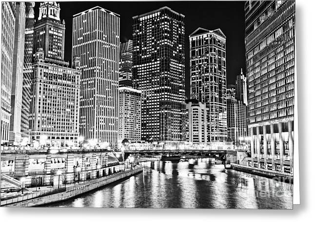 Riverfront Greeting Cards - Chicago River Skyline at Night Black and White Picture Greeting Card by Paul Velgos