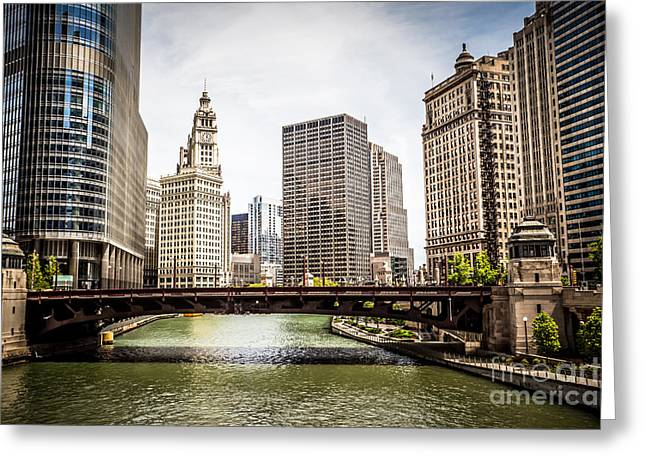 Chicago River Skyline at Wabash Avenue Bridge Greeting Card by Paul Velgos
