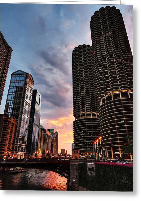 Skyscraper Greeting Cards - Chicago River Sunset 001 Greeting Card by Lance Vaughn
