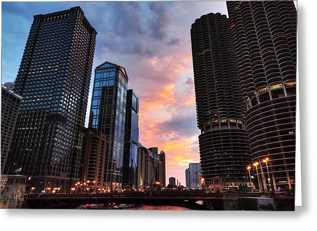 Chicago River Sunset 002 Greeting Card by Lance Vaughn