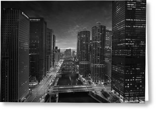 Wacker Greeting Cards - Chicago River Sunset B W Greeting Card by Steve Gadomski