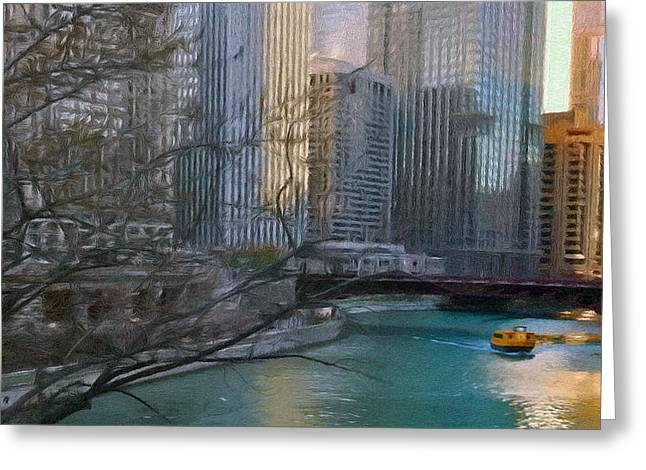 Reflecting Water Digital Art Greeting Cards - Chicago River Sunset Greeting Card by Jeff Kolker