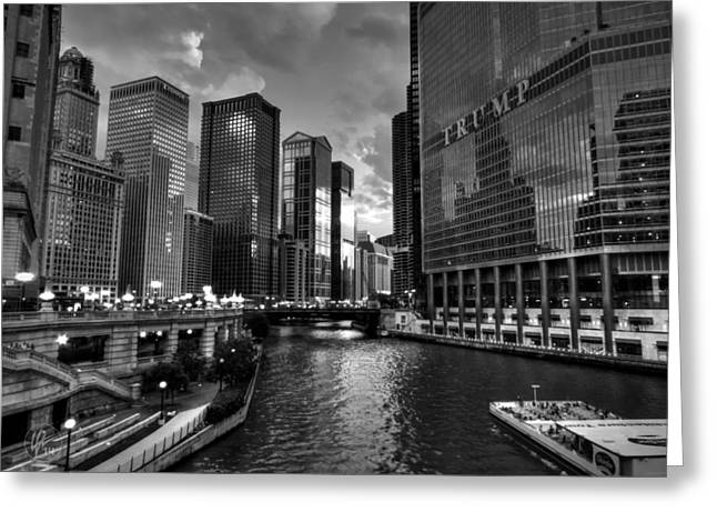 Magnificent Mile Greeting Cards - Chicago River - The Mag Mile 001 BW Greeting Card by Lance Vaughn