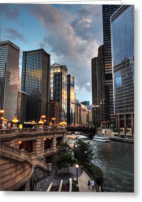 Hotel Greeting Cards - Chicago River - The Mag Mile 003 Greeting Card by Lance Vaughn