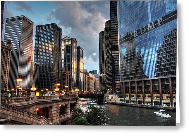 Chicago River - The Mag Mile 004 Greeting Card by Lance Vaughn