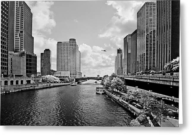 Aircrafts Greeting Cards - Chicago River - The River that flows backwards Greeting Card by Christine Till
