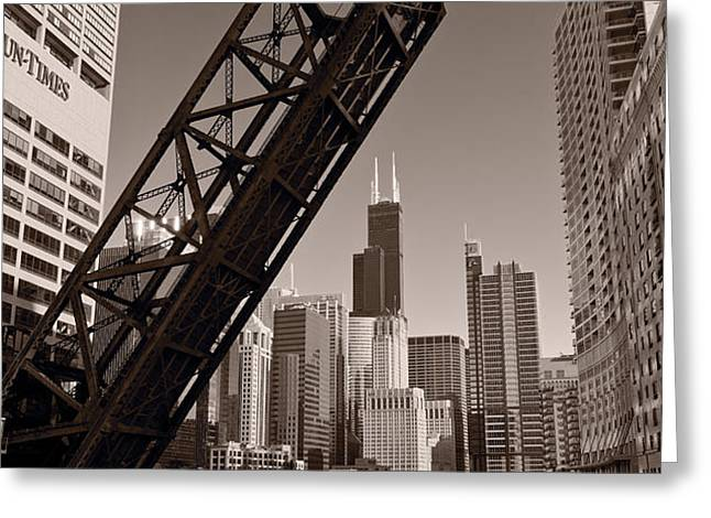 Chicago River Traffic BW Greeting Card by Steve Gadomski