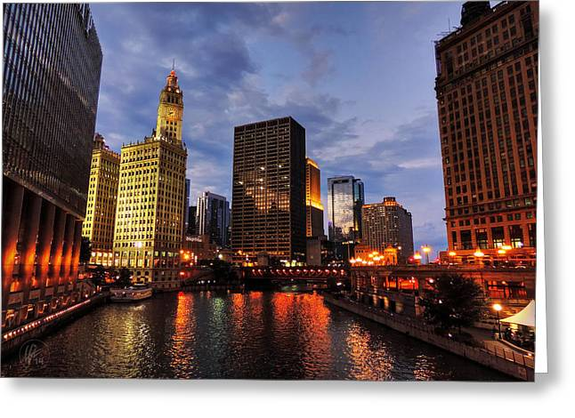 Chicago River Twilight 001 Greeting Card by Lance Vaughn