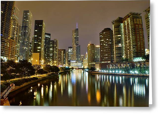 Industrialized Greeting Cards - Chicago River View Pano Greeting Card by Frozen in Time Fine Art Photography