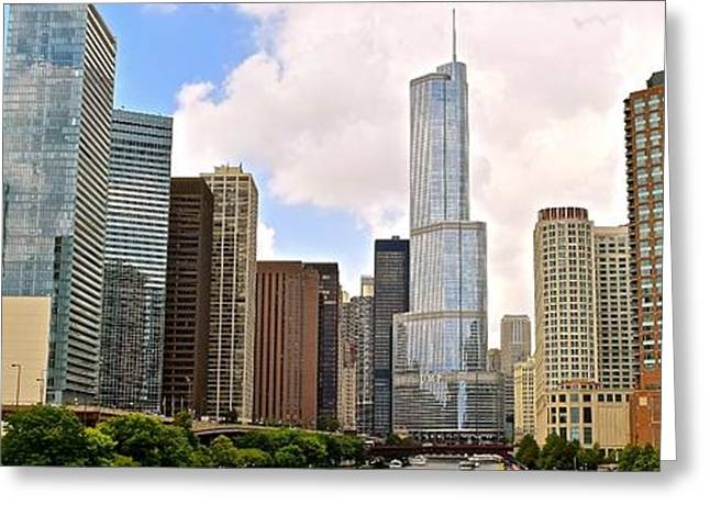Chicago River View Panorama Greeting Card by Frozen in Time Fine Art Photography
