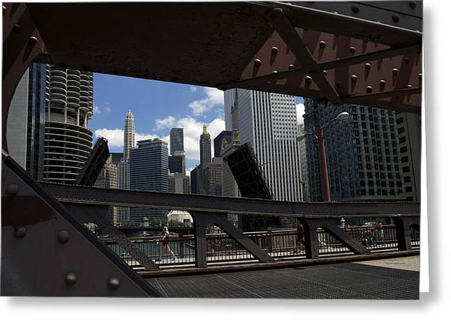 Riverwalk Digital Art Greeting Cards - Chicago River Walk Bridge Crossing Greeting Card by Thomas Woolworth