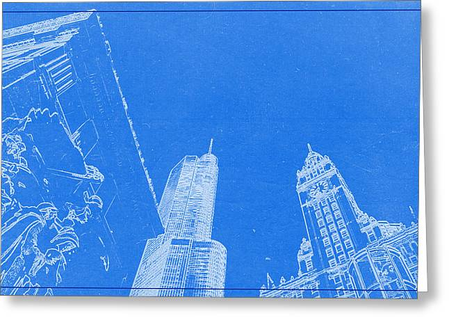 Lincoln Park Lagoon Greeting Cards - Chicago Riverfront BluePrint Greeting Card by Celestial Images