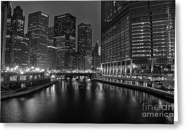 City Lights Greeting Cards - Chicago Riverwalk Greeting Card by Eddie Yerkish