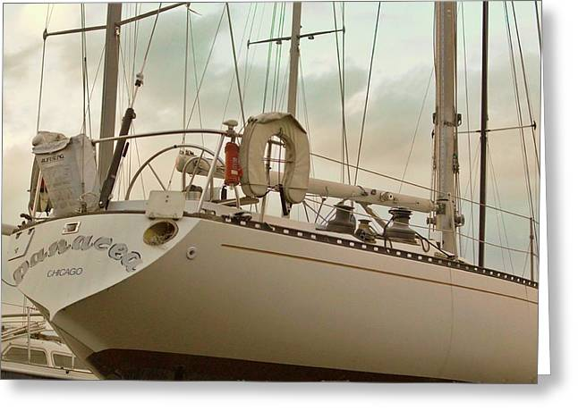 Sailboats In Water Greeting Cards - Chicago Sailboat In Muskegon Drydock Storage Greeting Card by Rosemarie E Seppala