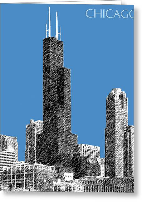Pen And Ink Greeting Cards - Chicago Sears Tower - Slate Greeting Card by DB Artist