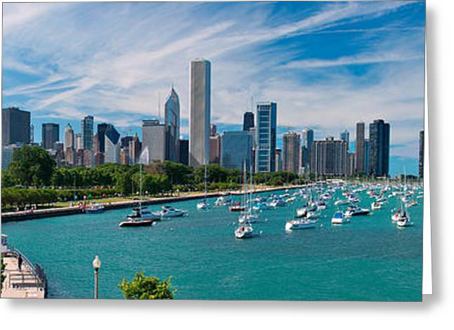 Boat Greeting Cards - Chicago Skyline Daytime Panoramic Greeting Card by Adam Romanowicz