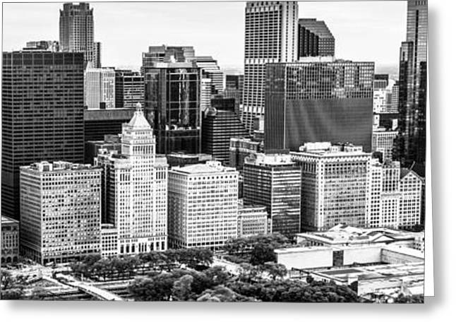 Black And White Photos Greeting Cards - Chicago Skyline Aerial Panorama Photo Greeting Card by Paul Velgos