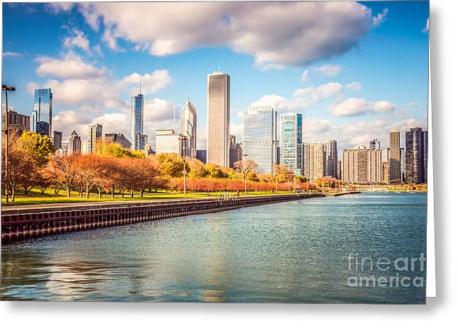 Chicago Building Greeting Cards - Chicago Skyline and Lake Michigan Photo Greeting Card by Paul Velgos