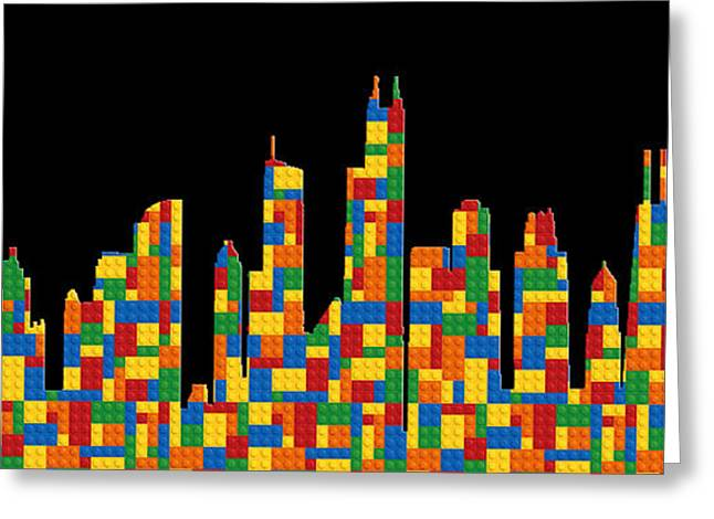Lego Greeting Cards - Chicago Skyline Greeting Card by Andrew Fare
