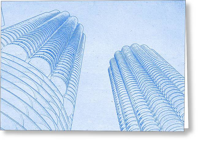Chicago Skyline Mixed Media Greeting Cards - Chicago Skyline Architecture Marina Towers Blueprint Greeting Card by MotionAge Designs