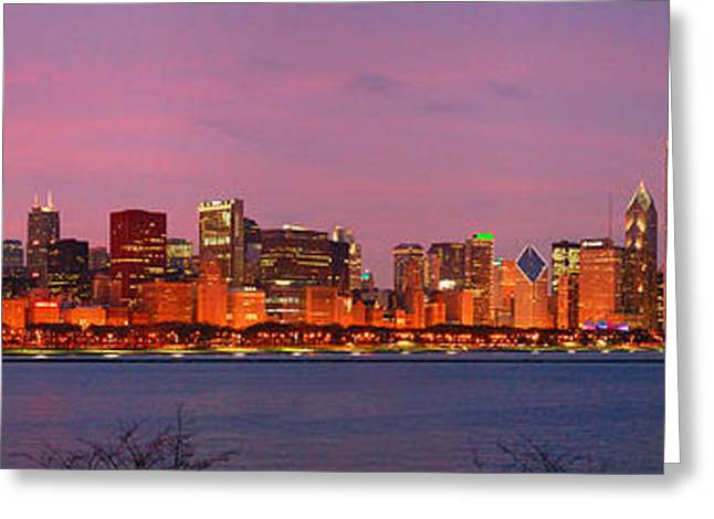 Night Scenes Photographs Greeting Cards - Chicago Skyline at DUSK 2008 Panorama Greeting Card by Jon Holiday