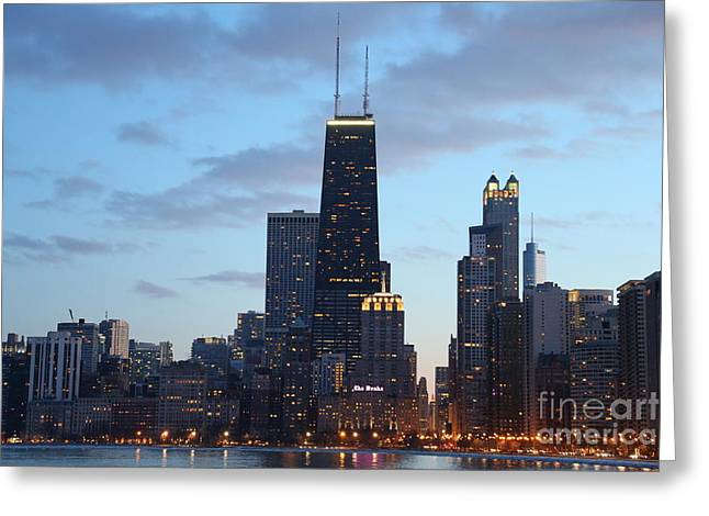 Beach At Night Greeting Cards - Chicago Skyline at dusk Greeting Card by Michael Paskvan
