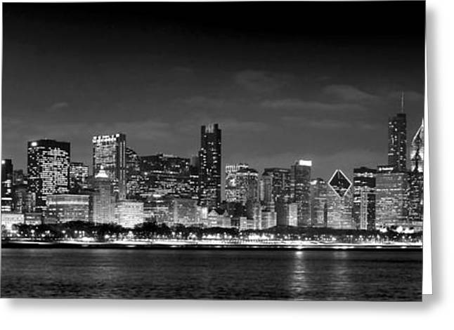 Skyline Greeting Cards - Chicago Skyline at NIGHT black and white Greeting Card by Jon Holiday