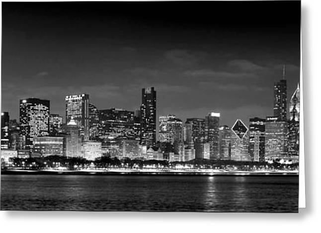 Panorama Greeting Cards - Chicago Skyline at NIGHT black and white Greeting Card by Jon Holiday