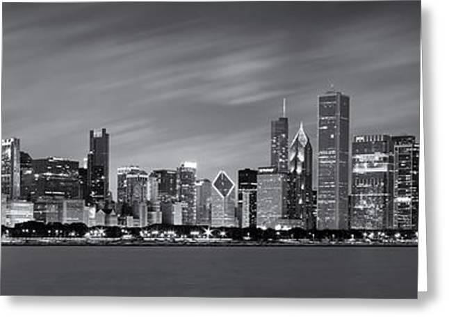 Long Greeting Cards - Chicago Skyline at Night Black and White Panoramic Greeting Card by Adam Romanowicz
