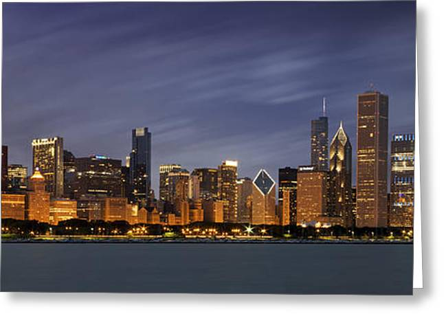 Dusk Greeting Cards - Chicago Skyline at Night Color Panoramic Greeting Card by Adam Romanowicz